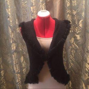 Faux fur lined knit vest